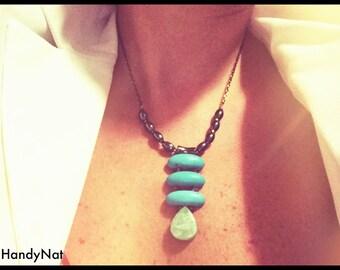 BOLD Statement Amazonite , Howlite and Hematite necklace.