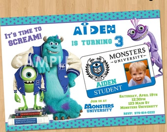 Monsters University Invitation - Monsters University Birthday Invitation - Monsters University Party Printable - Monsters Inc Photo Invite