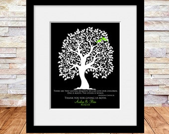 Wedding Gift for Parents, Brides Parents, Grooms Parents, Mother of the Groom, Mother of Bride, Wedding Tree Art Print