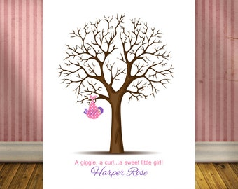 Baby Girl Shower Gift, Baby Shower Guestbook Alternative, Thumbprint Tree Guest Book, Baby Shower Gift Print, Baby Shower Decorations