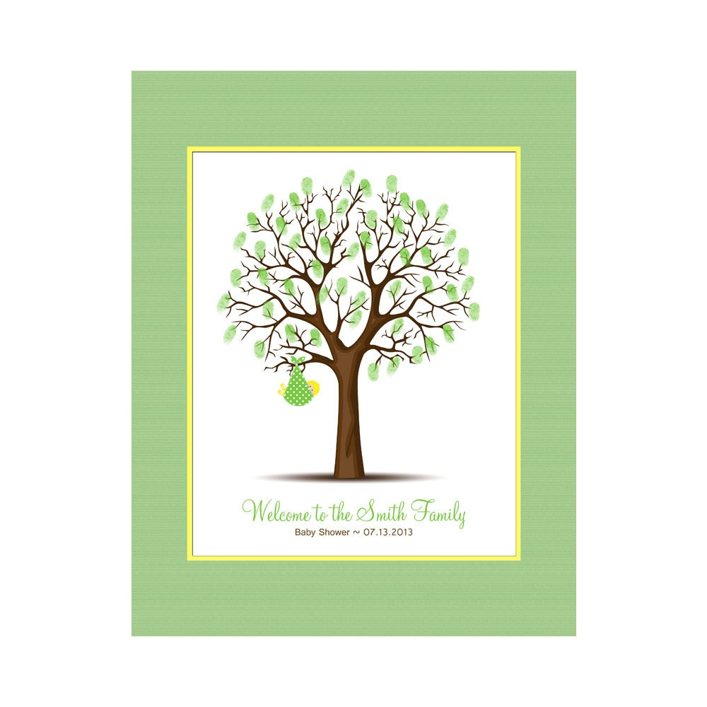 baby shower thumbprint tree keepsake guest book alternative