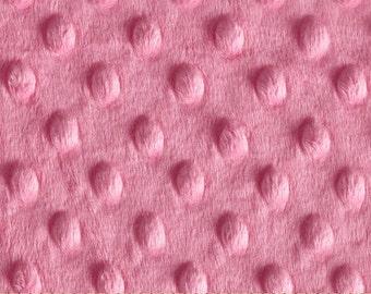 Hot Pink Minky, fabric BY THE YARD, Korean Minkee, Dot Embossed Texture, Minkee Plush, Blankets, Clothing, Softie Fabric, Pink Minky Dot