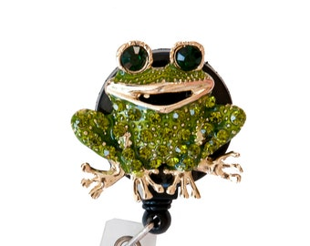 Rhinestone Green Frog Bling ID badge holder/ Rhinestone Retractable Badge Reel