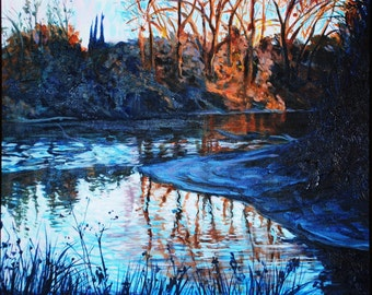 Muzy, American River with Orange Trees, 29.4.91, acrylic on canvas, 20x16