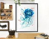 Jellyfish watercolor painting, Sea life print, ilustration, Bathroom art, Aqua blue Sea animal art, Laundry room artwork, Buy 2 Get 1 Free