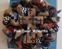 Made to Order Wreath RUSTIC WOOD CROSS black burlap brown white burgundy maroon grey chevron All Year Wedding Gift neutral wreath front door