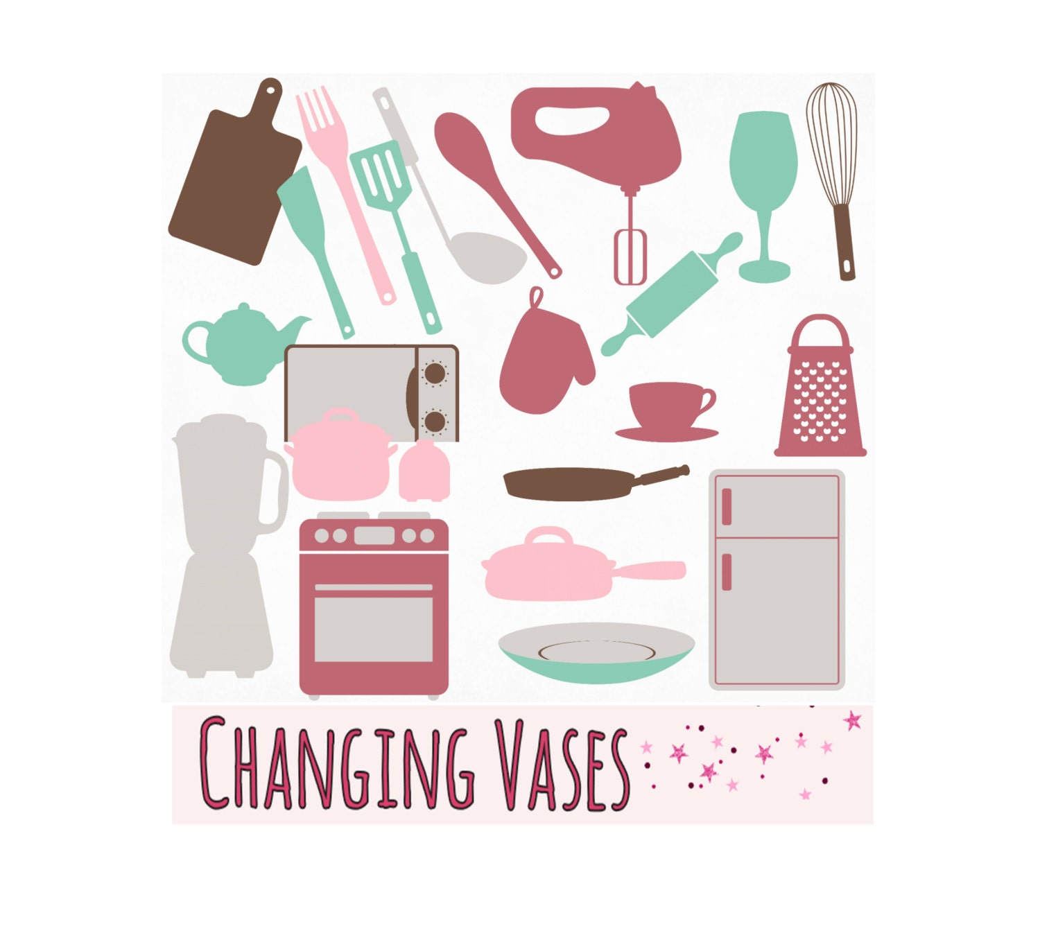 Teal pink brown kitchen clipart clip art graphics by - Teal kitchen appliances ...