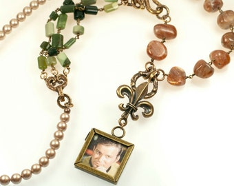 The Final Frontier Necklace - sunstone, imperial jasper, swarovski pearls, bronze and Capt. James T. Kirk