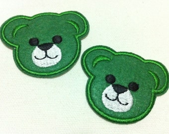 Lot Of 2 Pieces Green Cutie Bear (5.5 x 4.5) Embroidered Iron on Applique Patch (AL)