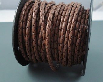 Leather Braided Cord, 3MM Saddle Brown Bolo Leather, Excellent Quality All Leather, One Yard