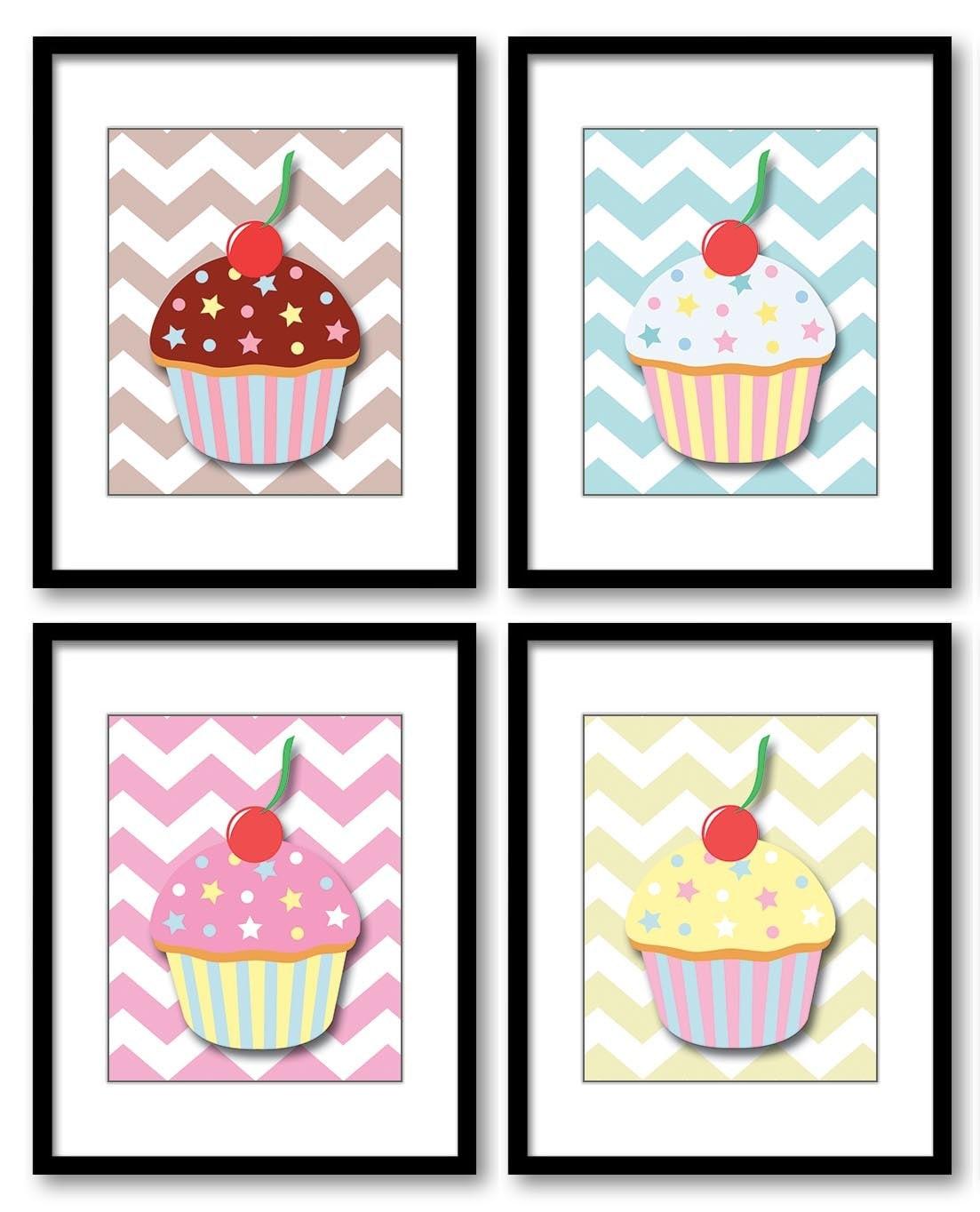 Kids Art Nursery Art Nursery Print Child Baby Art Cute Cupcakes Print Set of 4 Kids Room Wall Art De