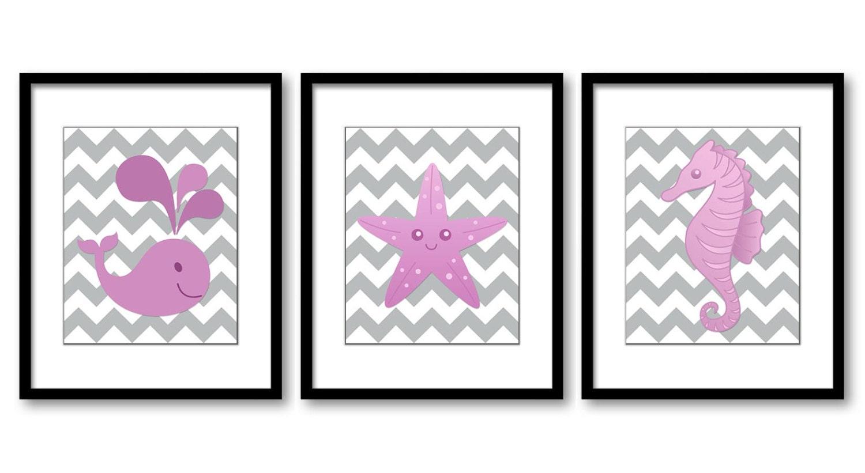 Pink Sea Animals Nursery Art Nursery Print Baby Art Print Set of 3 Whale Starfish Sea horse Pink Gir
