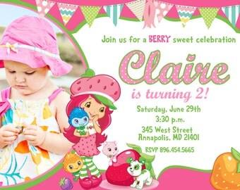 Strawberry Shortcake Birthday Party Invitation - Digital File