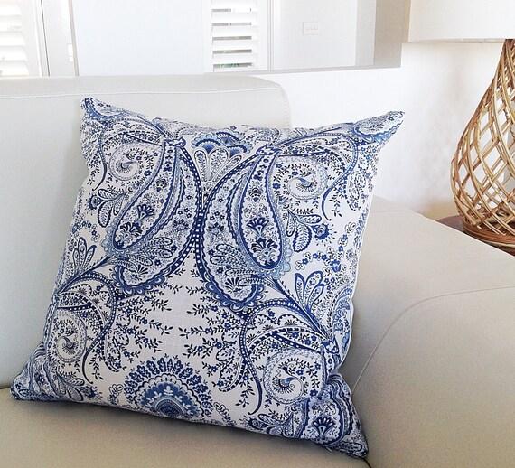 bettw sche paisley blau wei kissen von mybeachsidestyle. Black Bedroom Furniture Sets. Home Design Ideas