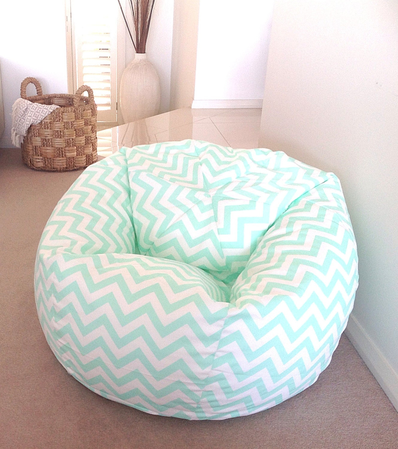 bean bag mint green zig zag adults teenagers kids chevron beanbag cover boys girls bluepink wisteria mint green pastel colours - Childrens Bean Bag Chairs
