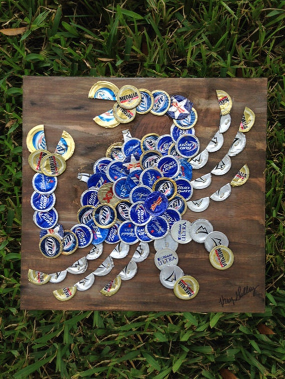 Items similar to blue crab beer cap art 12 x 12 signed for What can i make with beer bottle caps