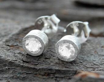 Silver Earrings, Clear Gemstone Earrings, Bridal Jewelry, Birthstone Earrings, Simple Earrings, Dainty Earrings, Silver Topaz Earrings, 925