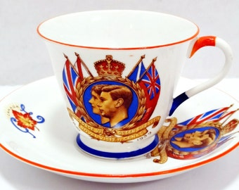 Antique Tea Cup Saucer King George 1939 Royal Visit to Canada Queen Elizabeth