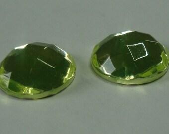 2 pcs Czech Glass Cabochon 14mm - uranium/vaseline glass, faceted (C14008)