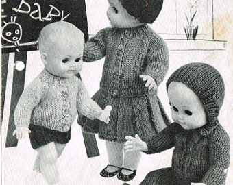 """Dolls clothes knitting pattern.10-12-14-16"""" doll.Baby Born/Anabelle. PDF instant download."""