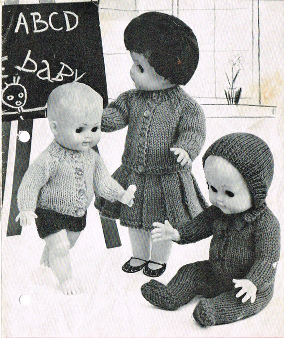 Dolls clothes knitting pattern.10-12-14-16 doll.Baby
