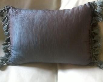 Shiny Sateen Blue and Brown Custom Lumbar Pillows