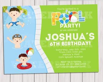 Kids pool party invitations – Etsy