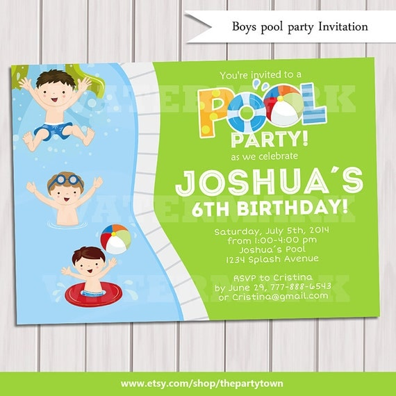 Boy Pool Party Invitation Kids Pool Party Invitation Pool party