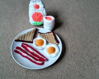 Crochet Breakfast play food playset