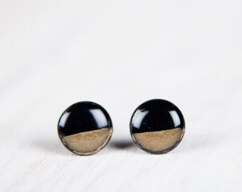 Gold Dipped Earrings,Dainty Studs, Black And Gold Studs, Minimalist Geometric Earrings, Black Earrings, Mens Earrings