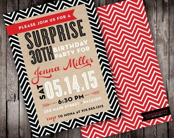 Brown Paper Typography Digital Surprise Birthday Party Invitation