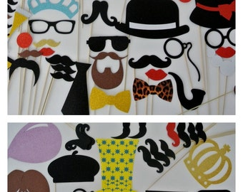 80 Plus Photo Booth Props Mustache on s stick Mad Men Inspired Photo Booth  Props Weddings great