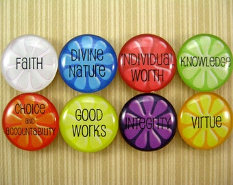 Young Women Values, Glass Tile Magnets, set of 8