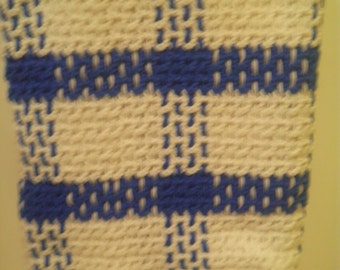 """Blue and White Squares Crocheted Lap Afghan - 51"""" square"""