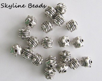 Tibetan Style Beads, Antique Silver, 10mm x 10mm, Beautiful and Unique! 20 beads