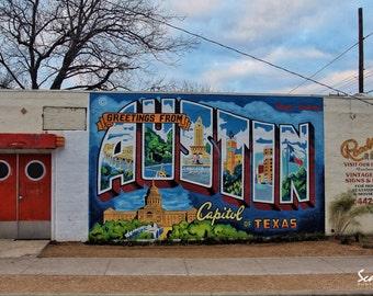 Popular items for austin texas on etsy for Austin mural wall