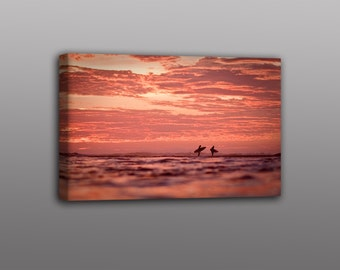 8x12 Canvas Print Surfers at Sunset Photo Wall Art Free Shipping