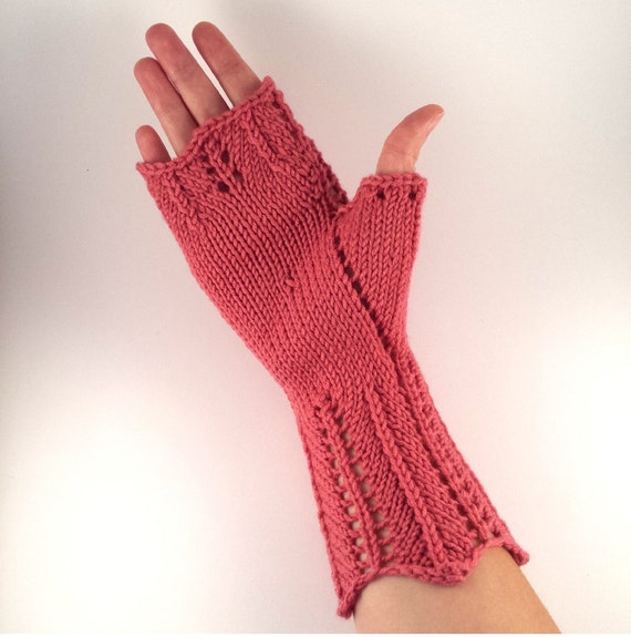 Fingerless Gloves Knitting Pattern for Women. PDF Download For Lace Chevron M...