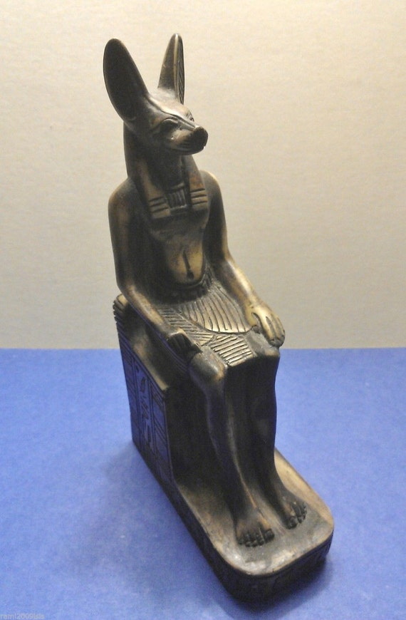 Vintage Statue Of Egyptian God Anubisthe Jackal Hand Made