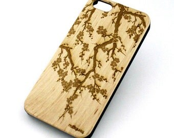 W125 Real Wood W Plastic Case Cover For Iphone 5 5s Cover Cherry Blossom