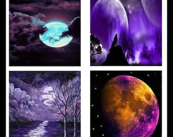 Purple Moons - Digital Downloads - Scrabble Sheets - Moons - Collage Sheets - Scrabble Images - Digital Images - Jewlery - DDP410