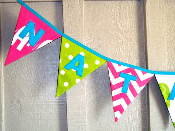 Custom Name Banner / Hot pink and green fabrics / Baby Shower Decor / Decorative Bunting / Name Sign / New Baby / Baby Girl /