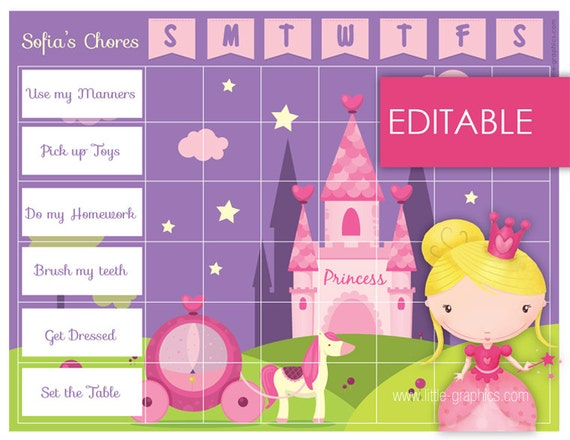 editable printable princess chore chart    reward by