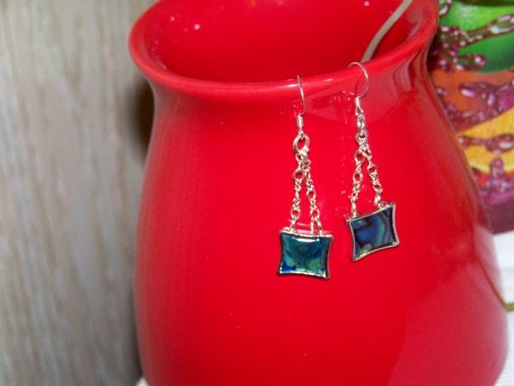 Earrings - Abalone Chained, Shell, Blue, Ocean, Silver Chain