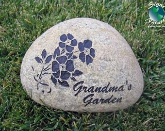Grandma's Garden Stone 7in-9in - Custom Hand Engraved Garden Stone for Grandma's Garden