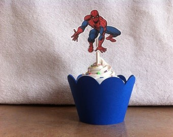 spiderman cupcake topper and wrapper