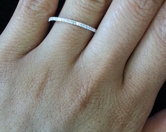 14K White Gold Diamond Wedding Anniversary Band Thin