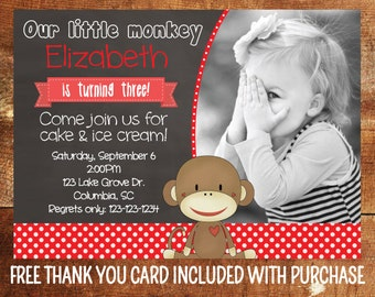 Sock Monkey Birthday Invitation - Chalkboard Sock Monkey Party Invite - First Birthday Girl - 1st Birthday Boy - Printable Invitation