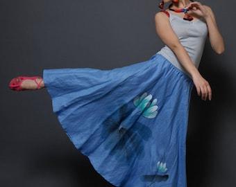 Hand Painted Maxi Skirt Lotus Skirt Long Skirt  Elastic Waist Skirt