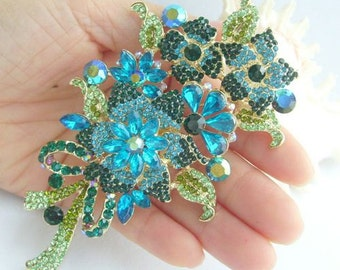 Golden Tone, Rhinestone Brooch, Bouquet Brooch, Glamorous Turquoise & Green Rhinestone Crystal Flower Brooch Pin, Costume Jewelry BP04716C4a